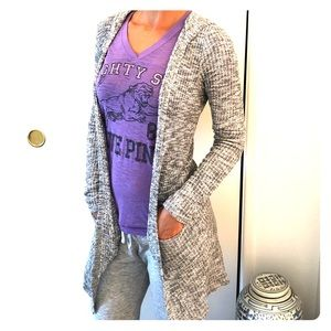 Heather grey hooded cardigan